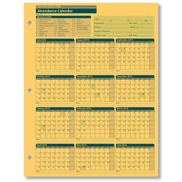 Get Printable Calendar  2016 Employee Attendance Calendar Printable - attendance calendar templates