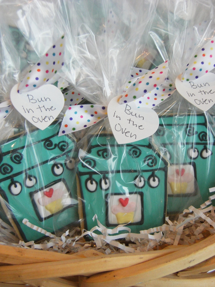 bun in the oven decorated cookies