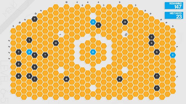 Screenshot of one of the trickier puzzles in Hexcells Infinite