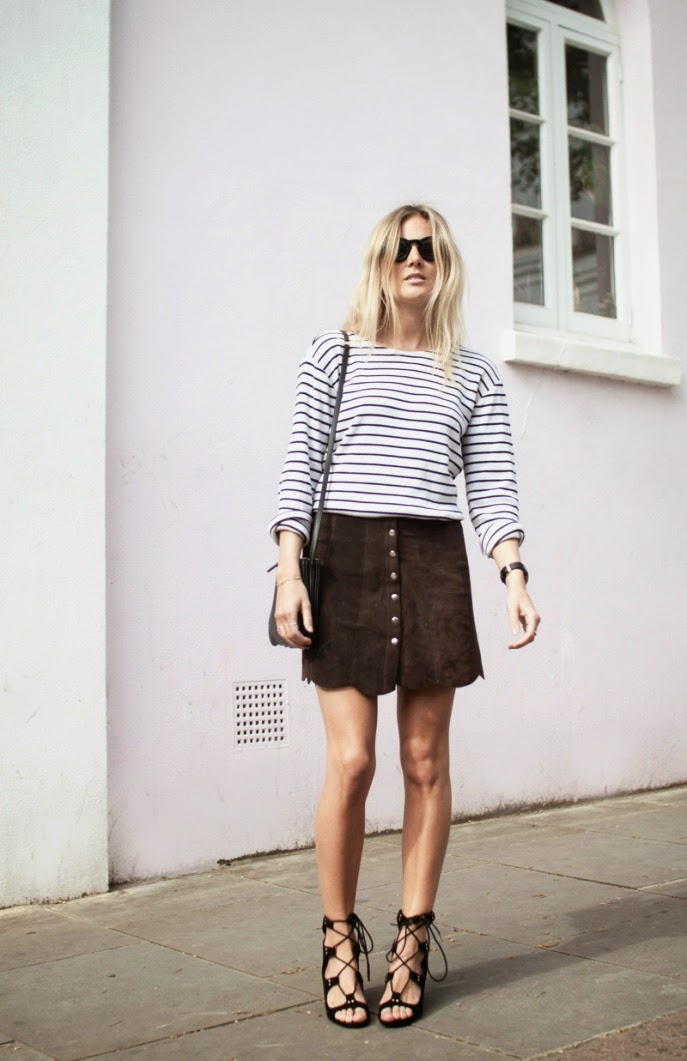 Fashion Me Now - Suede Button Skirt / Lace Up Heels