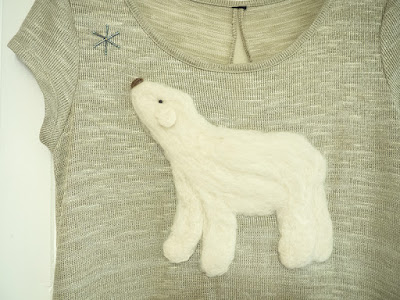 Polar Bear Felted Christmas Jumper by welaughindoors