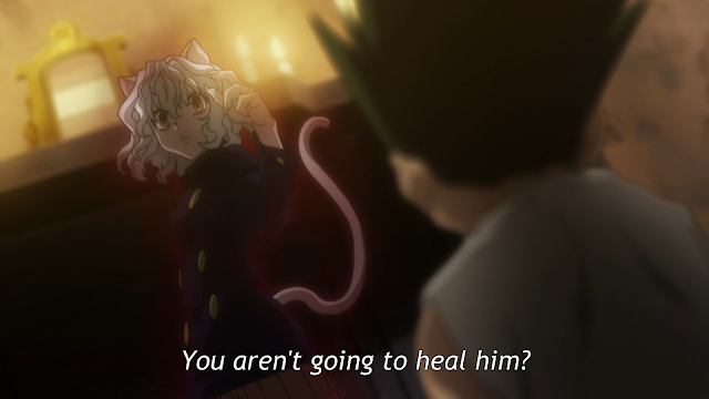 "Cat humanoid monster Neferpitou wearing blue coat fighting a young boy with spiky hair named Gon who's asking in subtitle ""You're not gonna heal Kite?"""