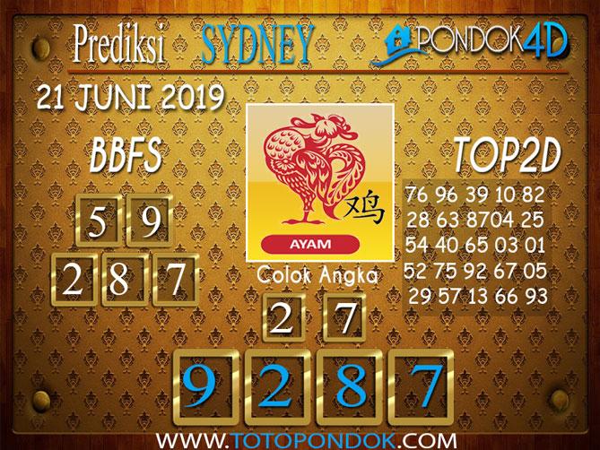 Prediksi Togel SYDNEY PONDOK4D 21 JUNI 2019