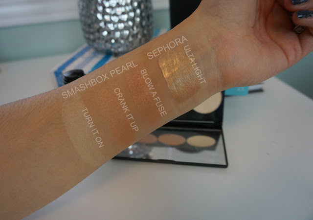 Sephora collection ultra light swatch and smashbox Casey Holmes in the spotlight pearl palette swatches