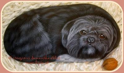 ritratto di cane dipinto a mano