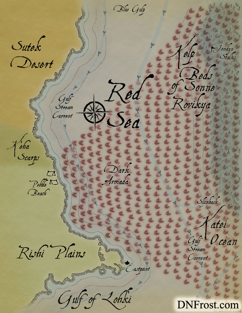 The Red Sea: sullied waters off the eastern front www.DNFrost.com/maps #TotKW A map for Broken by D.N.Frost @DNFrost13 Part of a series.