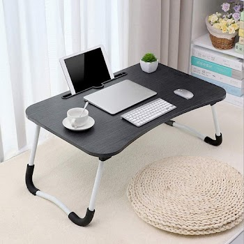 50% OFF Lap Desk, Folding Laptop Table Portable Laptop Desk Reading Writing Bed Table Breakfast Serving Tray Bed Couch Sofa, Notebook Table with Phone/Tablet Slots for Adults/Kids