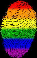 LGBTQ+ finger print dividing image
