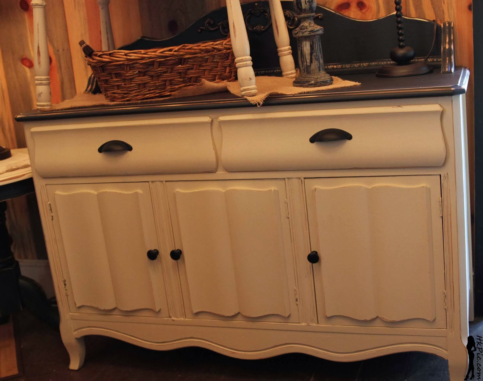 The Shabby Cottage Home: Curvy Black And Antique White Buffet
