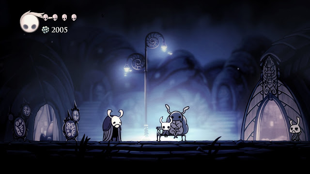 Hollow Knight Dirtmouth sitting on a bench