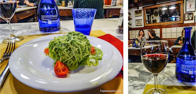 Restaurante em Florença: talharim ao pesto de rúcula da Osteria San Niccolò