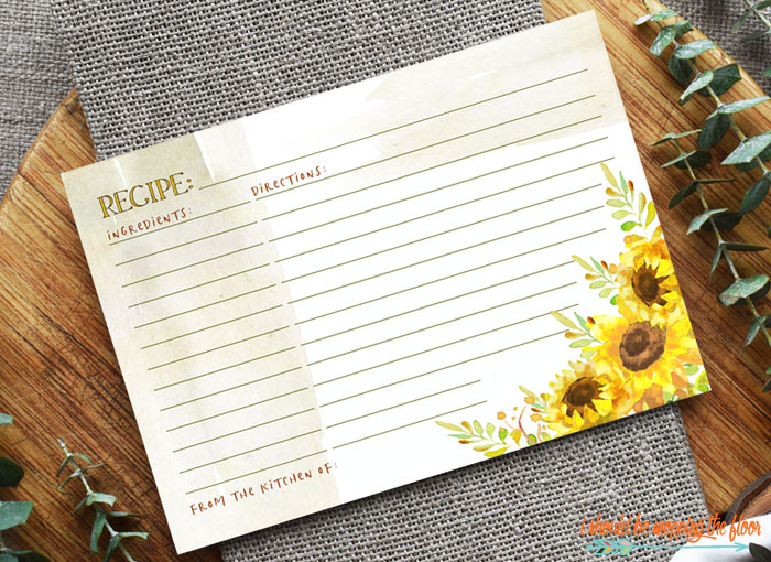 Free Sunflower Printable Recipe Cards