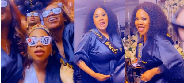 Watch the Lovely moment as Toyin Abraham shows off her dancing steps during Toyin Lawani's bridal shower (Video)