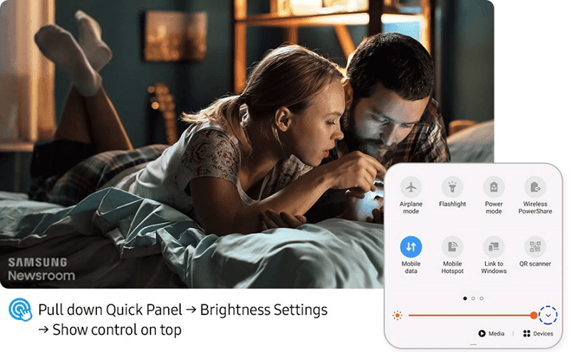 Easily adjust your screen brightness in the Quick Panel