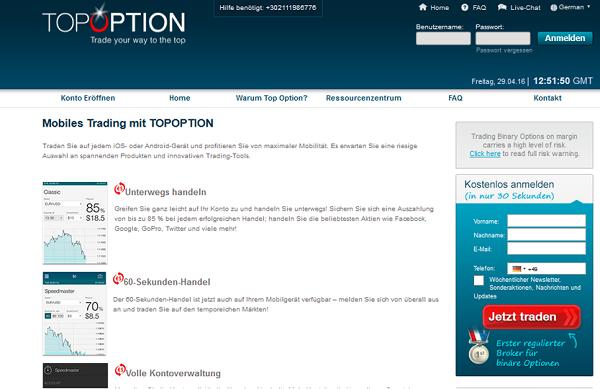 trading unterwegs mit topoption app