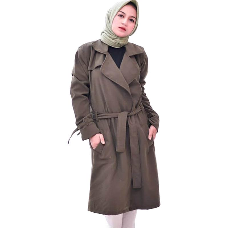Blazer Muslimah Hijaber / Long Cardi / Jaket Jas Blazer Wanita - Hijau Army