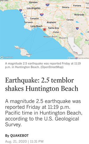 Hey, did this 2.5 earthquake might excite RA478? (Source: LA Times)