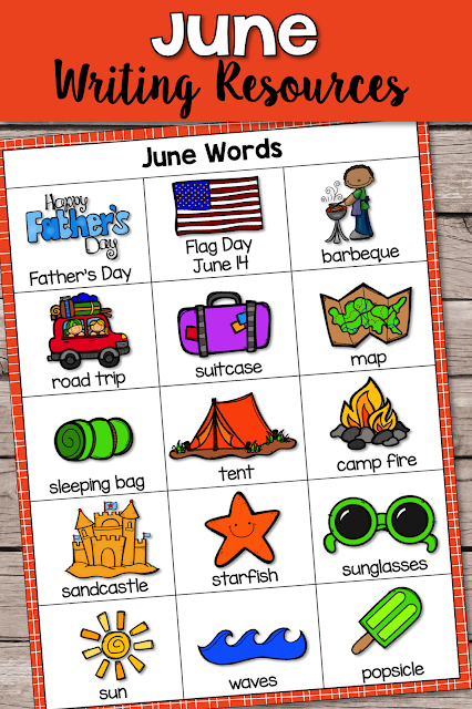 This Writing Resource set is packed with engaging graphics and graphic organizers to cover the main themes for June: Father's Day ,Flag Day, camping, beach, road trip and more!  Writing genres include: Journal Writing, Informational/Explanatory, Research, Opinion and Narrative.  Lots of publishing paper options!