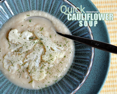Quick Cauliflower (or Broccoli) Soup ♥ KitchenParade.com, fast, delicious soup made with five ingredients. One Recipe, Two Soups. Weeknight Easy. Great for Meal Prep. Year-Round Staple. Weight Watchers Friendly. Low Carb. Gluten Free.