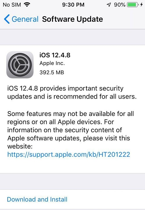 iOS 12.4.8 Features