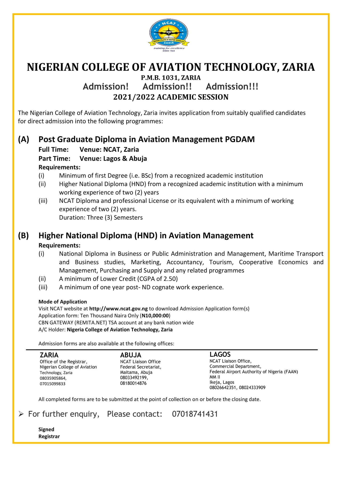 NCAT Zaria Admission Form 2021/2022 | ND, HND, PGD & Diploma