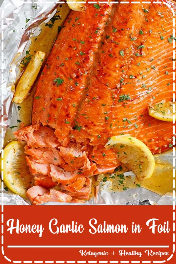 Honey Garlic Salmon made with salmon fillet and honey garlic marinade Honey Garlic Salmon in Foil