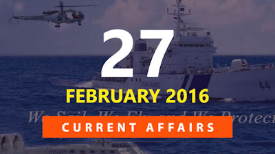 Current Affairs Quiz 27 February 2016