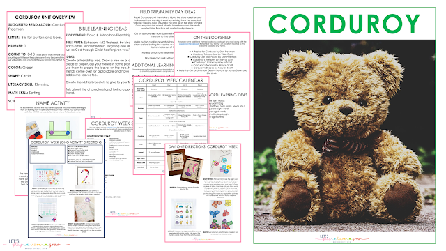 Sample of the Corduroy Unit in the Let's Play Learn Grow Preschool Curriculum