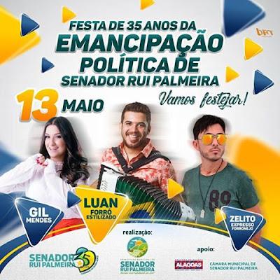 Senador Rui Palmeira  comemora 35 anos da Emancipação Política  nesta sábado (13)