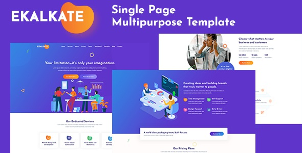 Best Multipurpose Single Page PSD Template