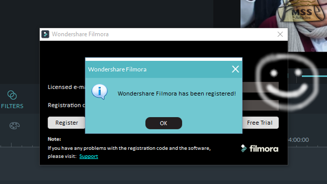 Wondershare Filmora has been registered