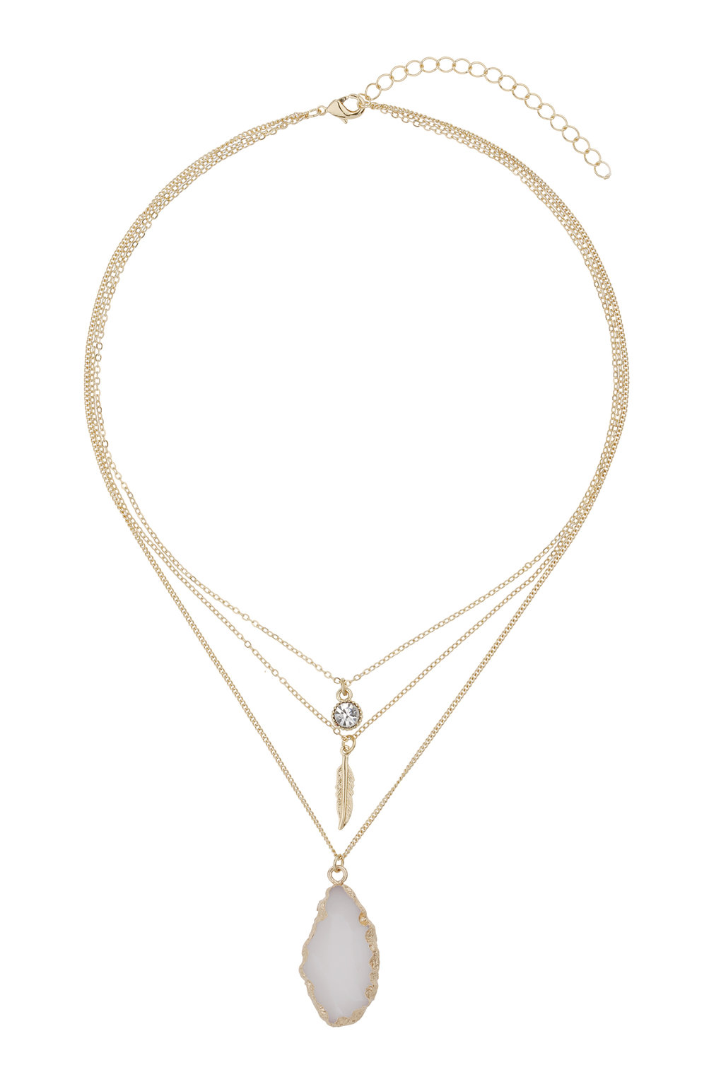 Wallis Fashion Stone and Charm multirow necklace