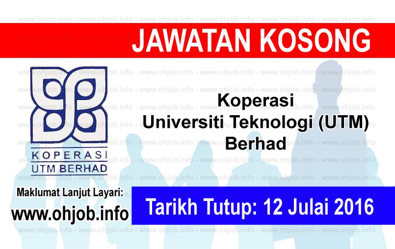 Jawatan Kerja Kosong Koperasi UTM Berhad logo www.ohjob.info julai 2016