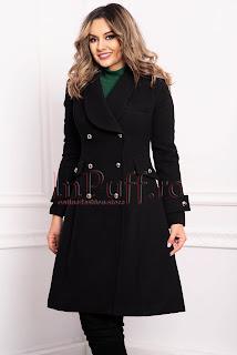Palton dama MBG negru trei sferturi croi A