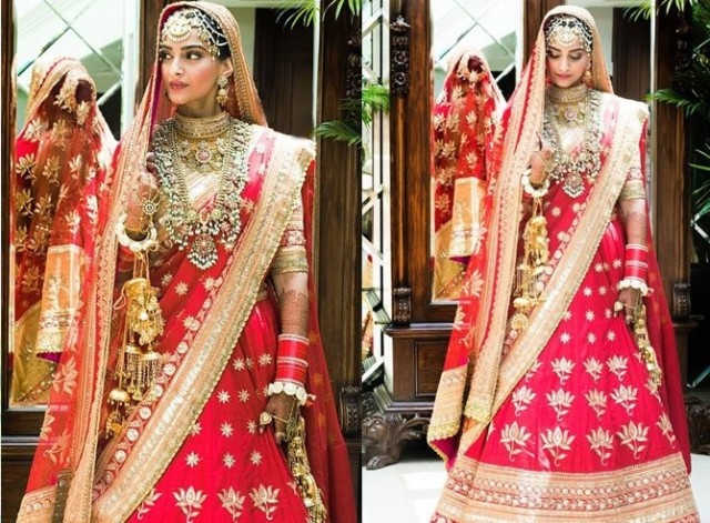 what sonam wore in her wedding