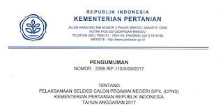 Indonesia merupakan negara agraris yang sebagian besar penduduknya bermata pencaharian se CPNS Kementrian Pertanian 2017 dan Infonya