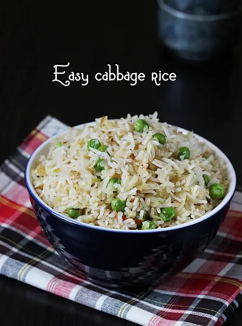 Easy cabbage rice | Indian style cabbage fried rice recipe