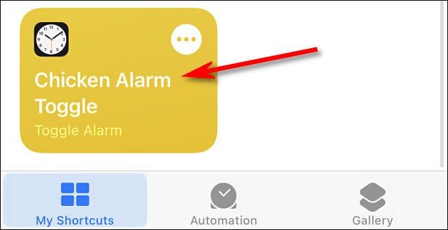 مثال على اختصار في تطبيق iPhone Shortcuts.