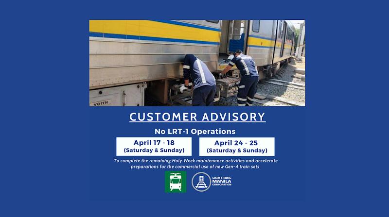 No LRT-1 operations on April 17-18, 24-25