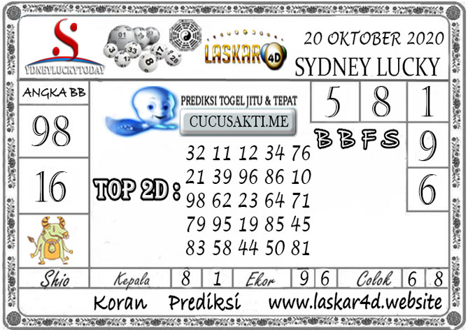 Prediksi Sydney Lucky Today LASKAR4D 20 OKTOBER 2020