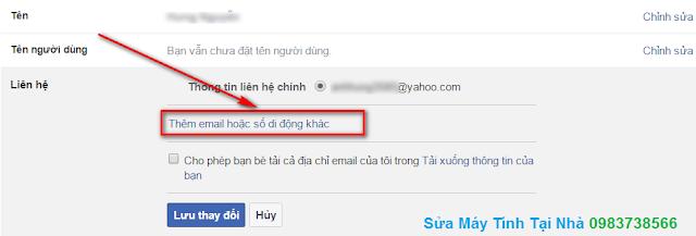 Cách thay đổi địa chỉ Mail chính trong Facebook