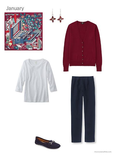 wine red cardigan, white tee and navy pants accented by an Hermes scarf