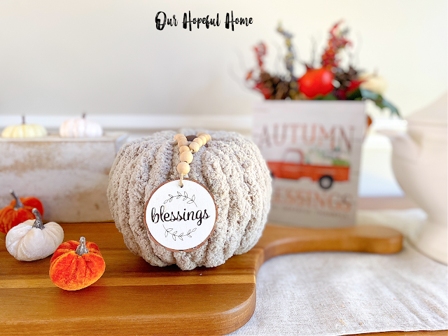 Autumn Blessings fall decor box blessings wood slice garland