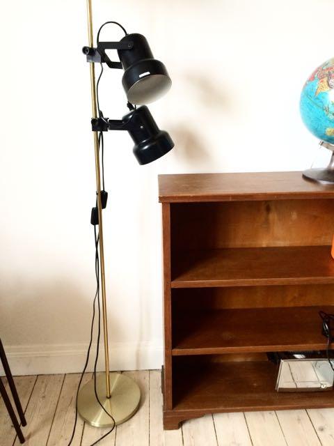 retro standerlampe Retro Furniture: Sort dobbelt standerlampe retro standerlampe