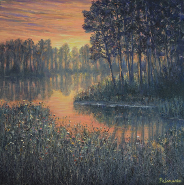 Painting of a marsh in Watercolor Beach Sunset Nature Art