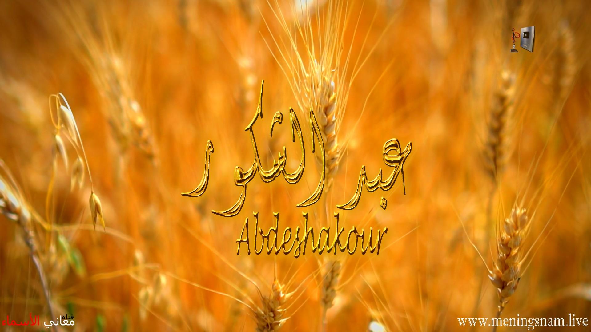 معنى اسم, عبد الشكور, وصفات, حامل, هذا الاسم, Abdeshakour,