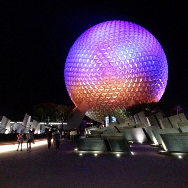 Epcot Center lit up at night at Disneyworld in Orlando Florida