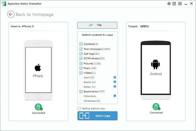 transfer musik dari ponsel Android dan iOS iPhone ke OPPO F5