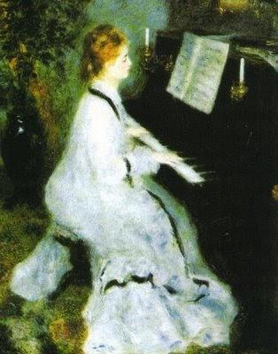 Pierre-Auguste Renoir - Mujer al piano - 1876