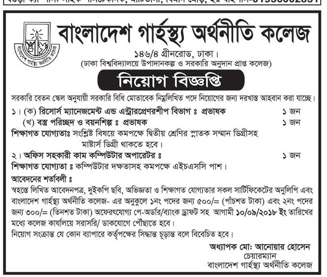 Bangladesh Garhhastha College of Economics Job Circular 2018